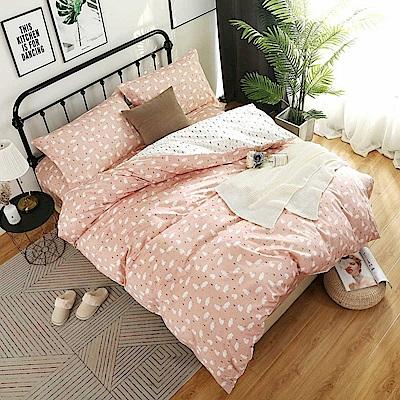 夢工場 盈盈粉妝60支紗埃及棉床包兩用被組-雙人
