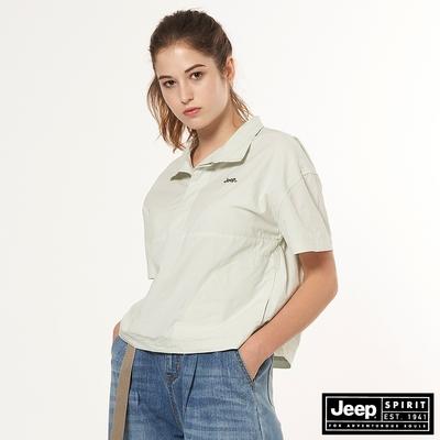 Jeep 女裝 清新質感寬版短袖襯衫-淺綠