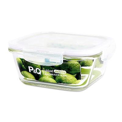 樂扣樂扣 P&Q系列耐熱玻璃保鮮盒-正方形600ML(快) @ Y!購物