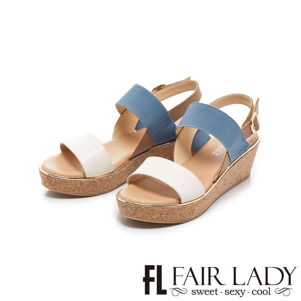 FAIR LADY Early Summer一字美足配色寬帶楔型鞋 白