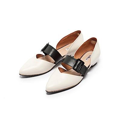Fair Lady優雅小姐Miss Elegant寬帶側挖空尖頭低跟鞋 經典白