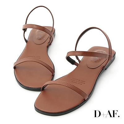 D+AF 個性獨創.一字細帶繞踝平底涼鞋*棕