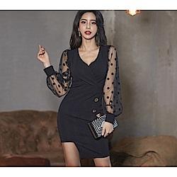 IMStyle 性感V領網紗拼接洋裝(黑色)