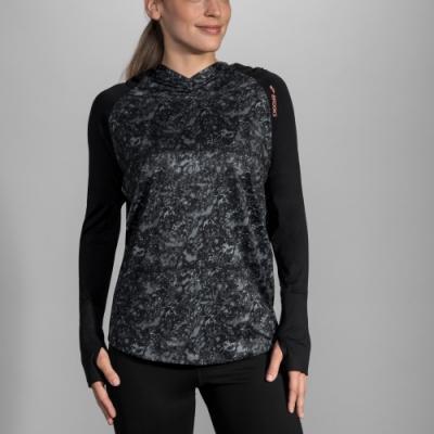 BROOKS 女 DASH 奔跑連身帽上衣 黑大理石紋 (221284099)
