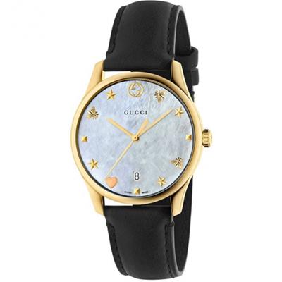 GUCCI 古馳  (YA1264044)立體海洋時標超薄腕錶x珍珠貝x36mm