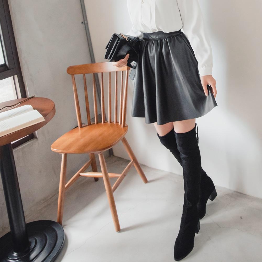 荔枝紋人造皮革抓褶圓裙/短裙-OB大尺碼