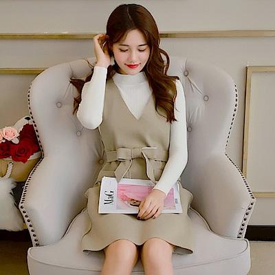 DABI 韓系吊帶針織圓領毛衣套裝長袖裙裝
