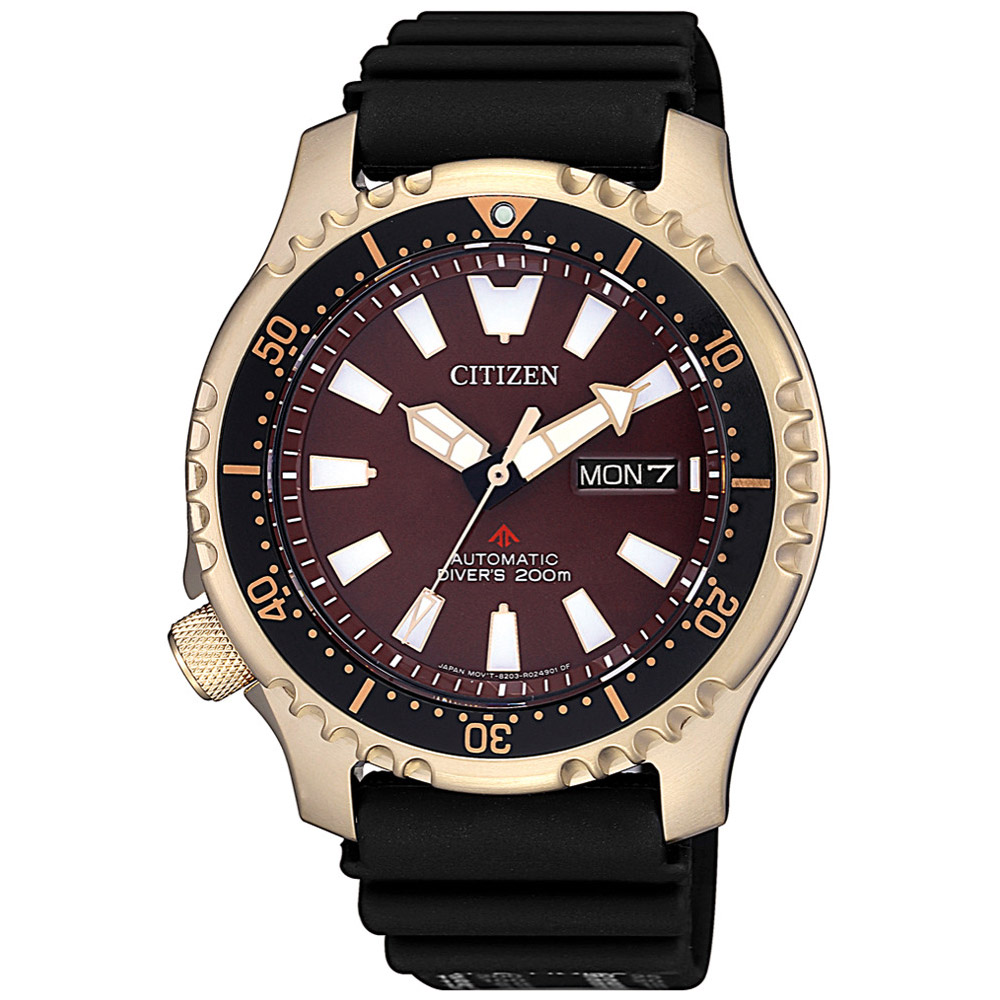 CITIZEN星辰 棕河豚限量機械潛水腕錶(NY0083-14X)-咖啡/42mm @ Y!購物