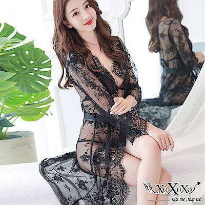 罩衫 絢麗幻想三件式睡衣組 挑逗黑 XOXOXO