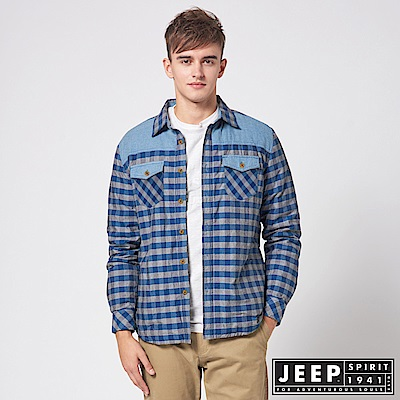 JEEP 造型撞色拼接格紋襯衫式外套 -藍色