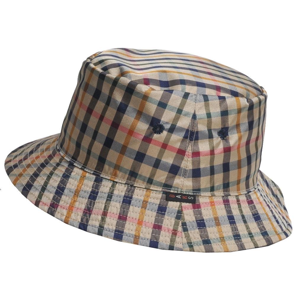 DAKS 日本製潑水加工科技纖維格紋滾邊雙面可用漁夫帽(卡其格/深藍)