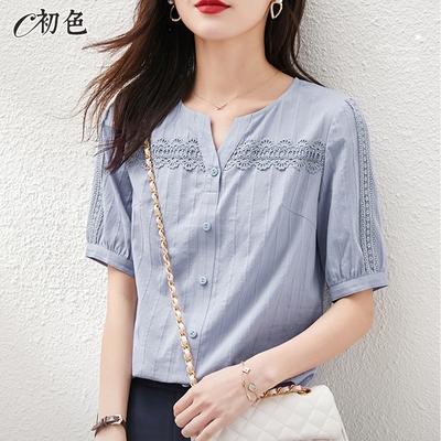初色  蕾絲織帶燈籠袖上衣-灰藍色-(M-2XL可選)