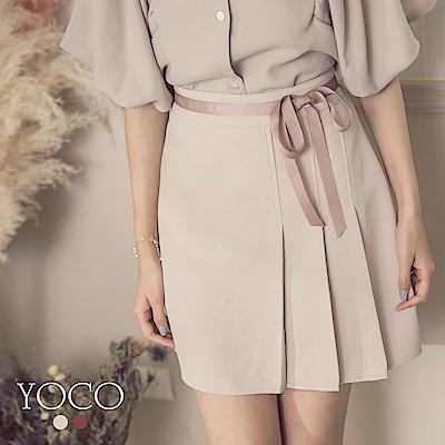 東京著衣-yoco學院氣質撞色織帶壓褶短裙-S.M.L(共二色)
