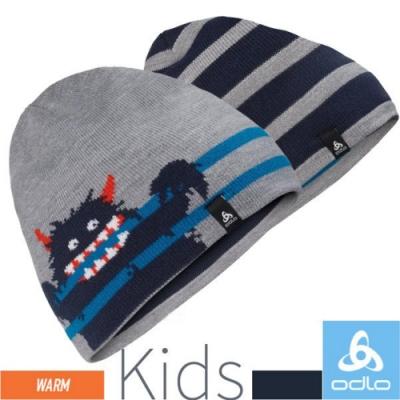 ODLO 兒童新款 GAGE 雙面針織保暖毛帽_海軍藍/灰麻花/條