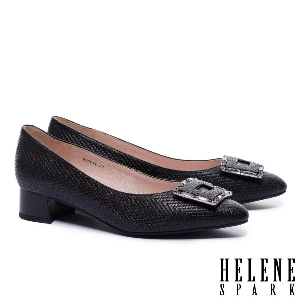 低跟鞋 HELENE SPARK 雅緻晶鑽方釦全真皮尖頭低跟鞋-黑