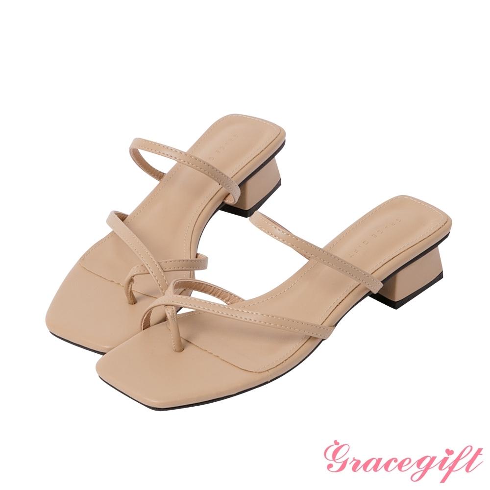 Grace gift-細帶交叉套趾涼拖鞋 杏