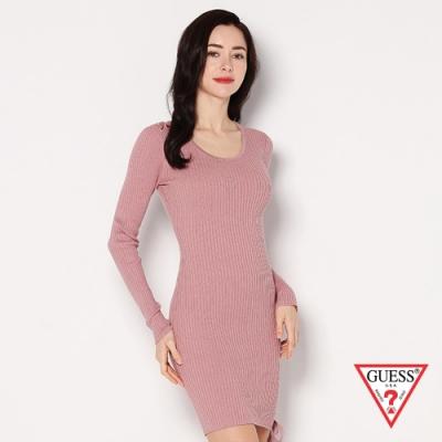 GUESS-女裝-修身綁帶長袖洋裝-粉
