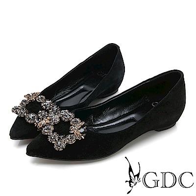 GDC-高貴真皮尖頭蜜蜂水鑽平底鞋-黑色