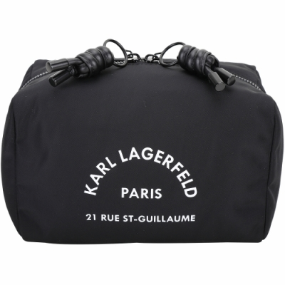 KARL LAGERFELD Rue St Guillaume 住址系列尼龍萬用手拿包(黑色)