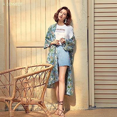 H:CONNECT 韓國品牌 女裝-水洗特色牛仔短褲-藍