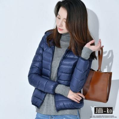 JILLI-KO 單色輕薄羽絨棉外套- 深藍/桃