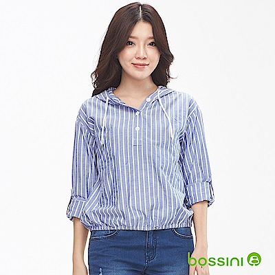 bossini女裝-連帽長袖直條罩衫天藍