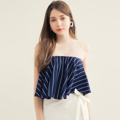 AIR SPACE 知性條紋平口領片綁帶裙套裝(深藍)