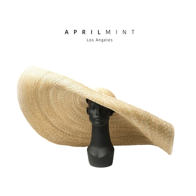 Tiffany - by April Mint Los Angeles 秀場款時尚超寬大over size垂吊式帽簷草帽