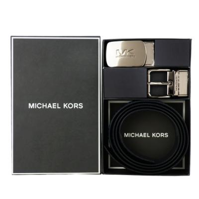MK MICHAEL KORS 滿版方牌/針扣雙頭雙面用皮帶禮盒組-深藍