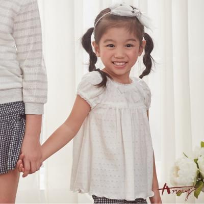 Annys安妮公主-舒適透氣紗網蝴蝶結春夏款純棉短袖上衣*8326白色