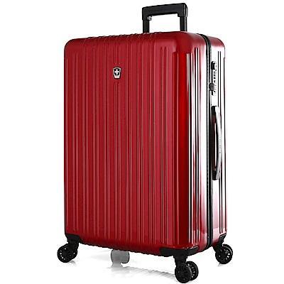 SWISSMOBILITY瑞動 經典雙線24吋PC耐撞TSA海關鎖行李箱/旅行箱 (紅色)