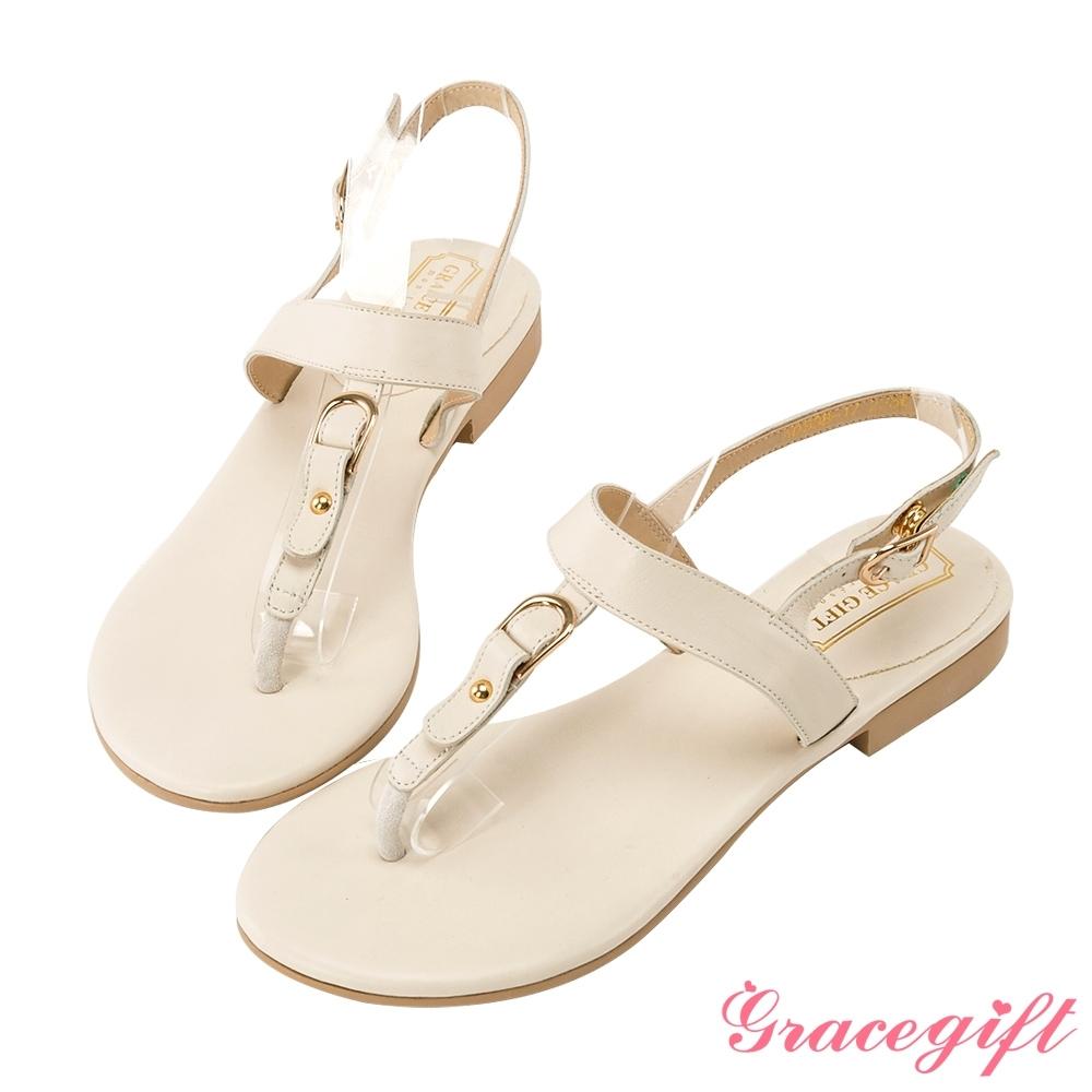 Grace gift-真皮金屬T字夾腳涼鞋 米白