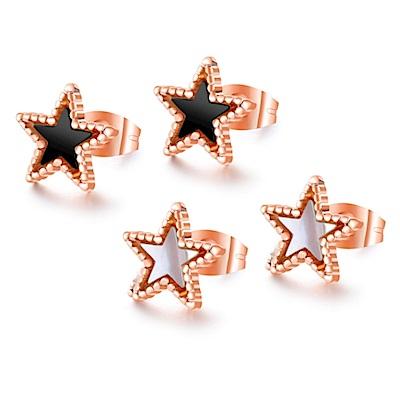 I.Dear飾品-西德鋼-小星星-個性五角星造型玫瑰金鈦鋼耳針耳環DA31