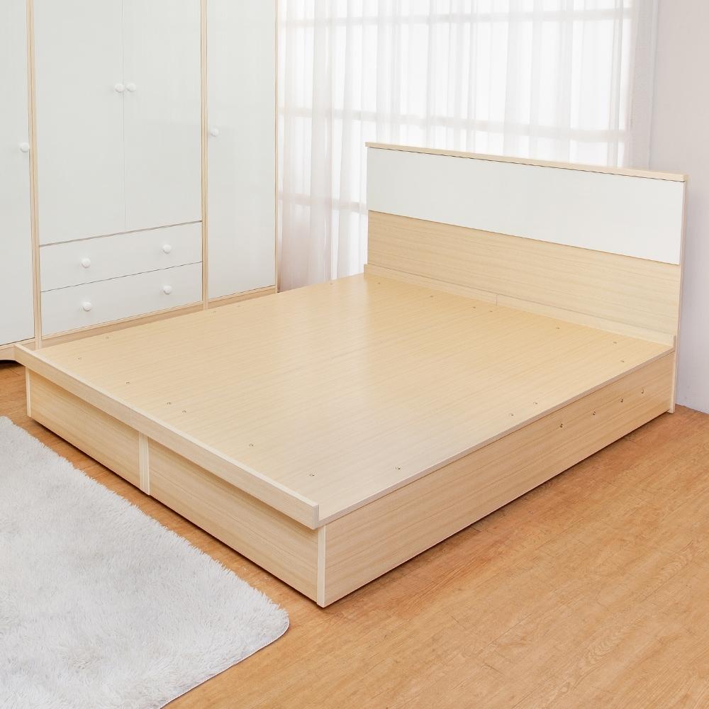 Birdie南亞塑鋼-3.5尺單人塑鋼床組(床頭片+掀床底)(白橡色+白色)