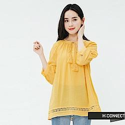 H:CONNECT 韓國品牌 女裝-簍空刺繡綁結上衣-黃