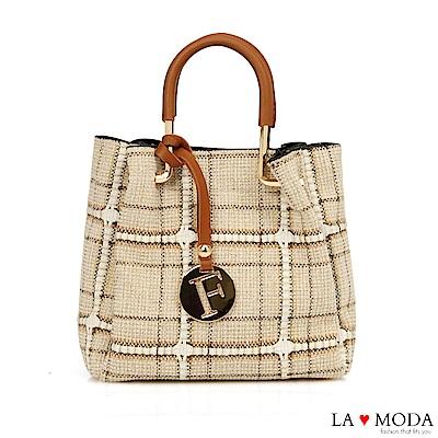 La Moda 編織風格可拆式2WAY手提肩背子母包(格紋)