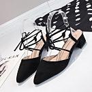 KEITH-WILL時尚鞋館 甜心活力時光羅馬風粗跟鞋 黑