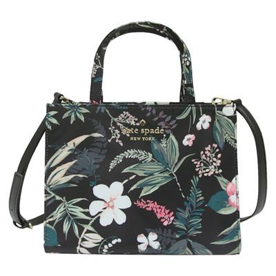 Kate spade botanical sam 印花尼龍手提/斜背兩用包-黑色