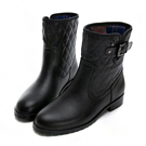PLAYBOY雨季漫步 菱格壓紋短筒雨靴-黑