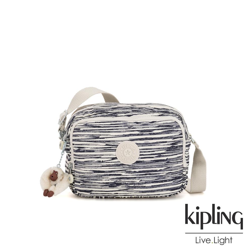 Kipling 線條塗鴉紋雙層側背包-SILEN
