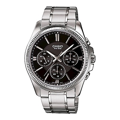 CASIO簡約時尚特殊齒框設計三針三眼不鏽鋼腕錶(MTP-1375D-1)黑面34mm