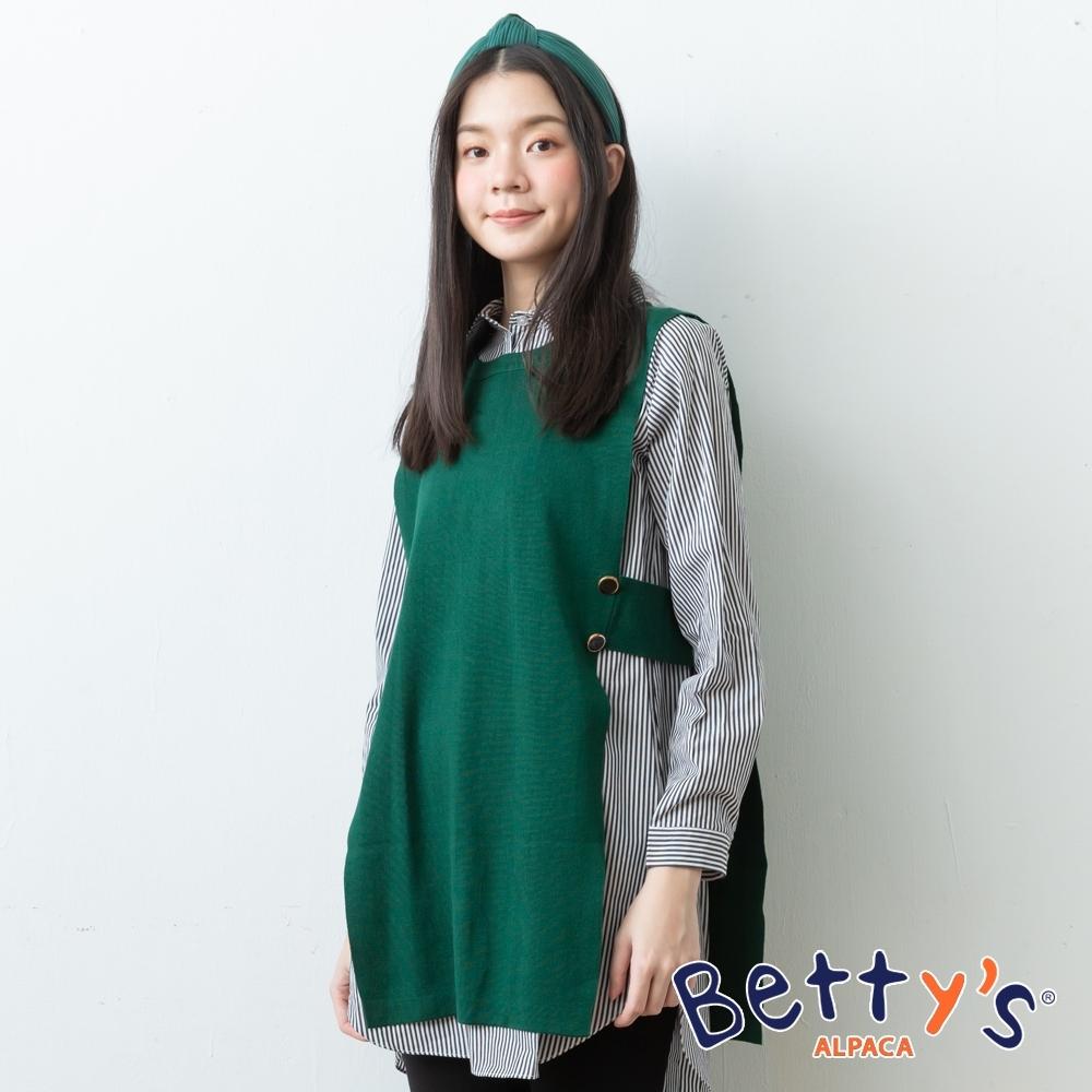 betty's貝蒂思 圓領針織外搭+襯衫領條紋洋裝(綠色)
