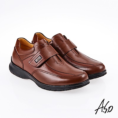 A.S.O 霸足氣墊 魔鬼氈油感氣墊休閒皮鞋 咖啡