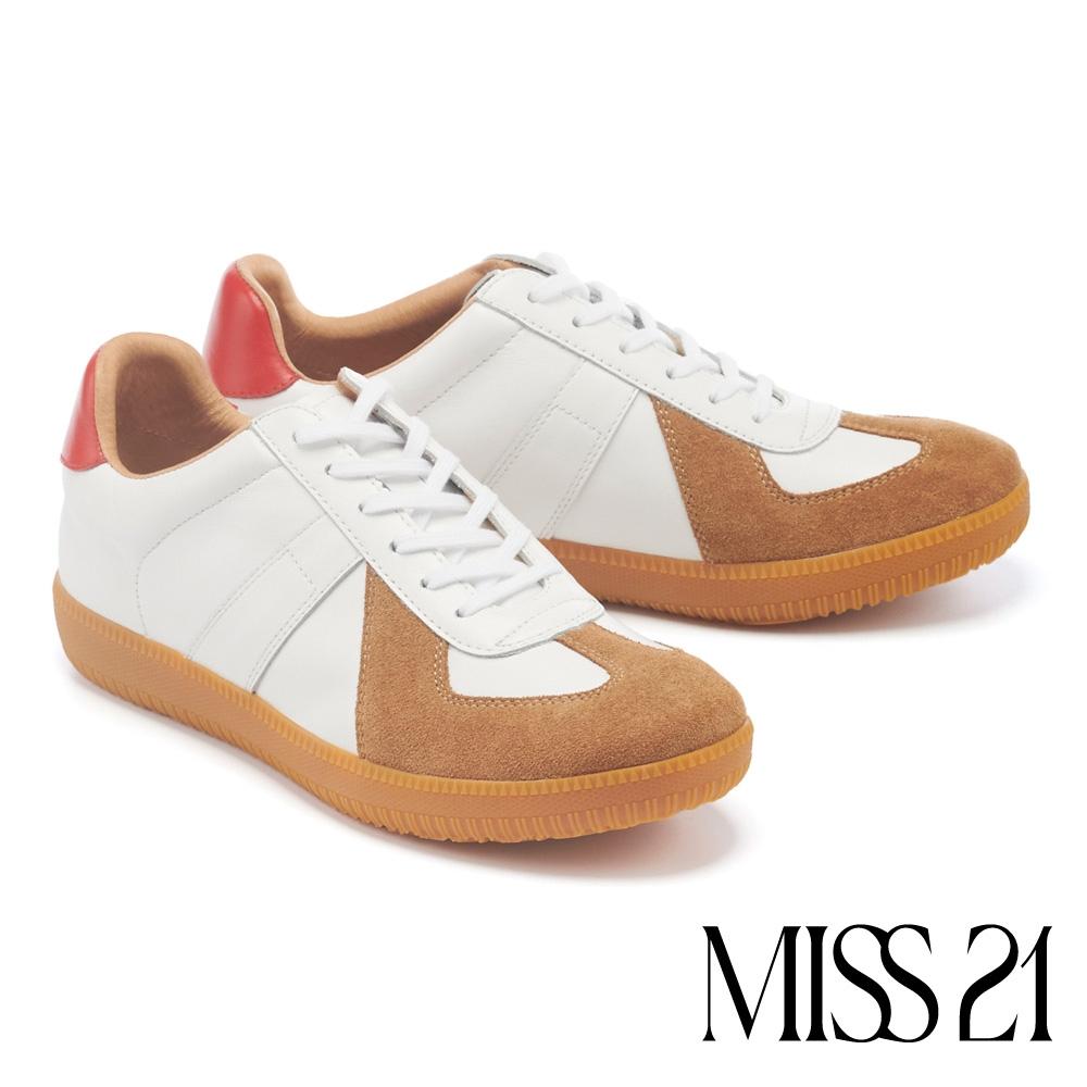 休閒鞋 MISS 21 率性時尚撞色拼接全真皮綁帶休閒鞋-棕