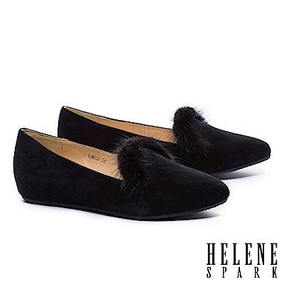 低跟鞋 HELENE SPARK 奢華暖意水貂毛設計全真皮樂福低跟鞋-麂皮黑