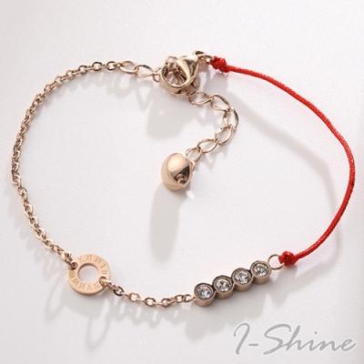 I-Shine-本命年羅馬數字四鑽開運鈦鋼玫瑰金半紅繩手鍊LA244