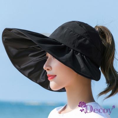 Decoy 加大帽沿 荷葉鏤空防曬遮陽帽 黑