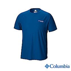 Columbia哥倫比亞 男款-野跑涼感快排短袖上衣-深藍 UAE13070NY