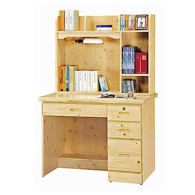 品家居 伊達文3.2尺實木書桌(上+下座)-96x66x157cm免組
