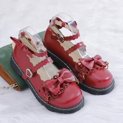 KEITH-WILL時尚鞋館 獨賣款綿密可愛蝴蝶節大頭鞋-酒紅